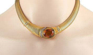 LB Exclusive LB Exclusive 18K Yellow Gold 0.75 ct Diamond and Citrine Necklace