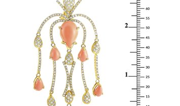 LB Exclusive LB Exclusive 18K Yellow Gold 3.75 ct Diamond and Coral Earrings