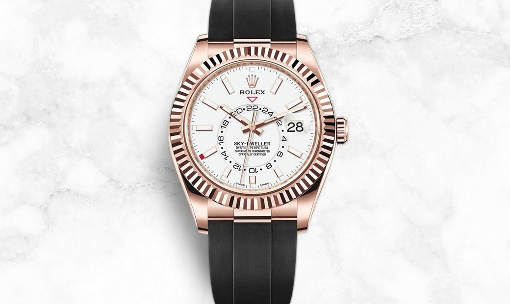 Rolex Sky-Dweller 326235-0004  Everose Gold White Dial with Oysterflex Bracelet