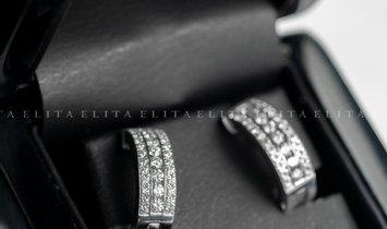 9K White Gold Diamond Set Hoop Earrings