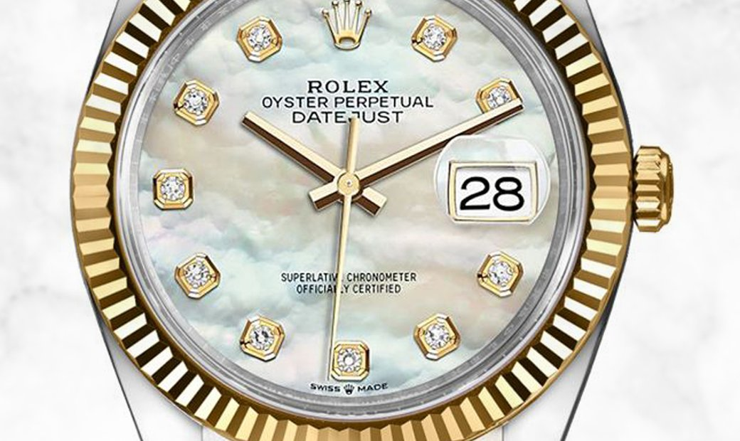Rolex Datejust 36 126233-0023 Oystersteel and Yellow Gold Diamond Set White Mother of Pearl Dial