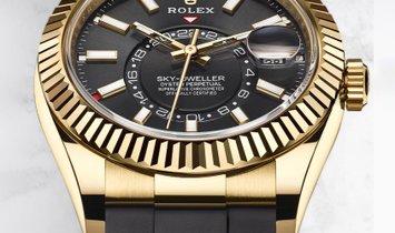 Rolex Sky-Dweller 326238-0009 Yellow Gold Black Dial Oysterflex Bracelet