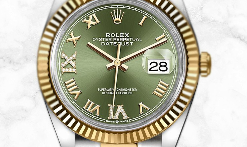 Rolex Datejust 36 126233-0026 Oystersteel and Yellow Gold Diamond Set Olive Green Dial