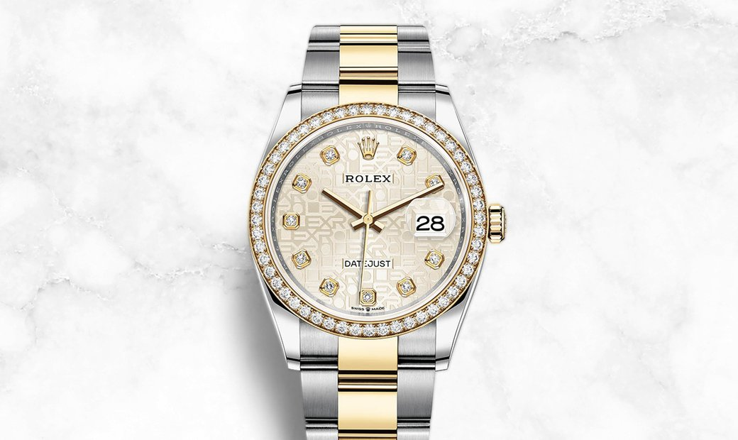 Rolex Datejust 36 126283RBR-0014 Oystersteel and Yellow Gold Diamond Set Silver Jubilee Design Dial