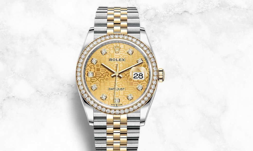 Rolex Datejust 36 126283RBR-0019 Oystersteel and Yellow Gold Champagne Coloured Jubilee Dial