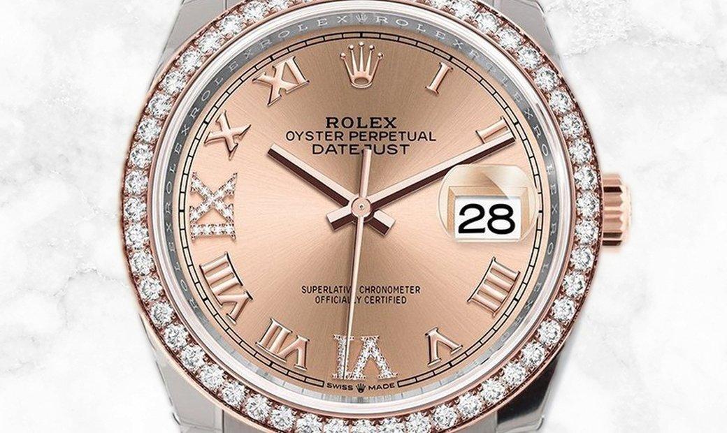 Rolex Datejust 36 126281RBR-0015 Everose Rolesor Diamond Set Rose Coloured Dial Diamond Set Bezel