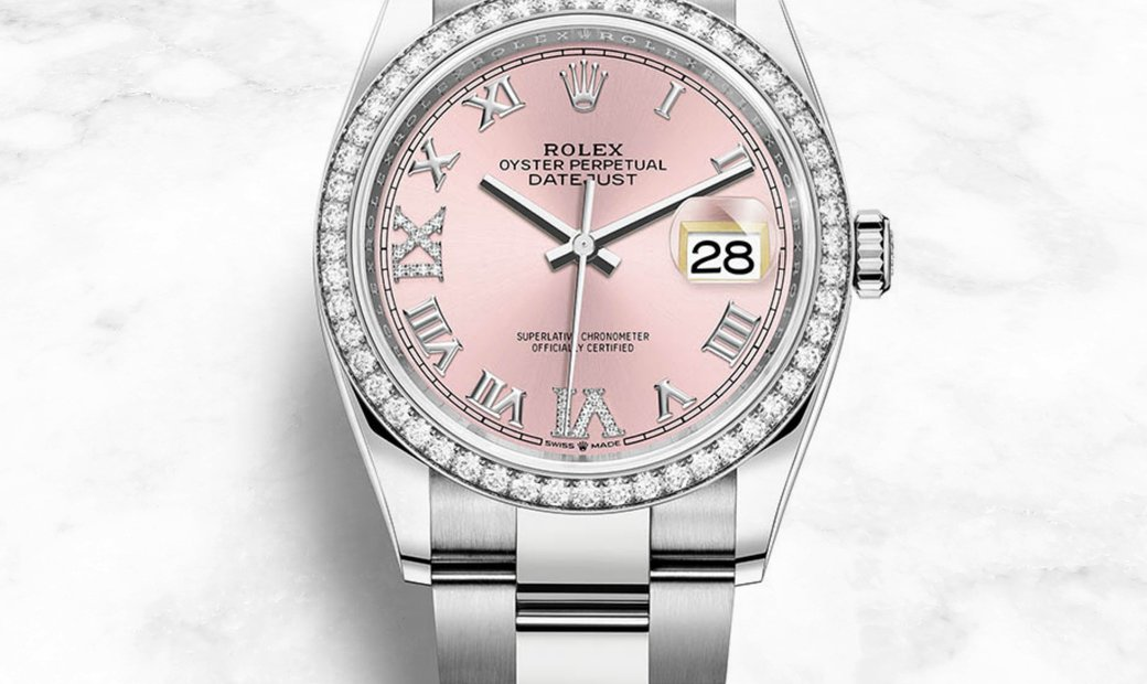 Rolex Datejust 36 126284RBR-0024 Oystersteel and White Gold Diamond Set  Pink Dial