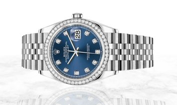 Rolex Datejust 36 126284RBR-0029 Oystersteel and White Gold Diamond Set Blue Dial Diamond Bezel