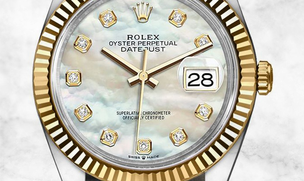 Rolex Datejust 36 126233-0024 Oystersteel and Yellow Gold Diamond Set White Mother of Pearl Dial