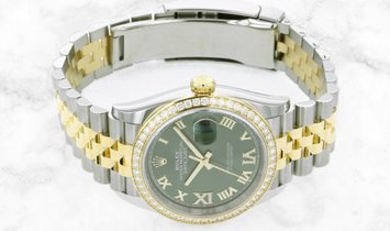 Rolex Datejust 36 126283RBR-0011 Oystersteel and Yellow Gold Diamond Set Olive Green Dial