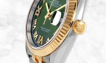 Rolex Datejust 36 126233-0025 Oystersteel and Yellow Gold Diamond Set Olive Green Dial