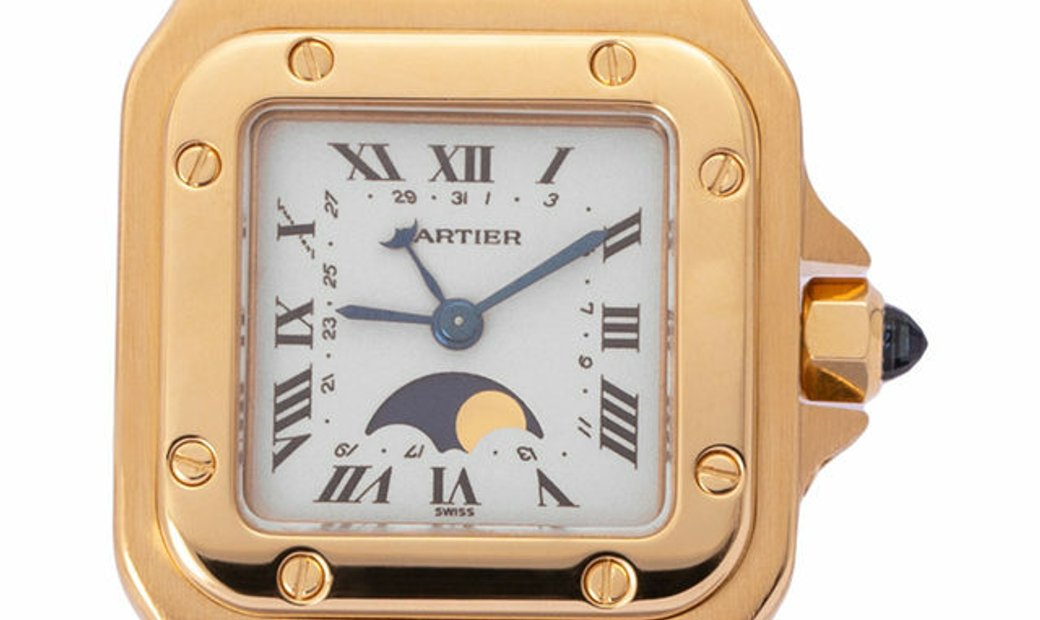 Cartier Santos Moonphase  819902, Roman Numerals, 1995, Very Good, Case material Yellow