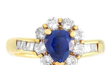 LB Exclusive LB Exclusive 18K Yellow Gold 0.80 ct Diamond and Sapphire Ring