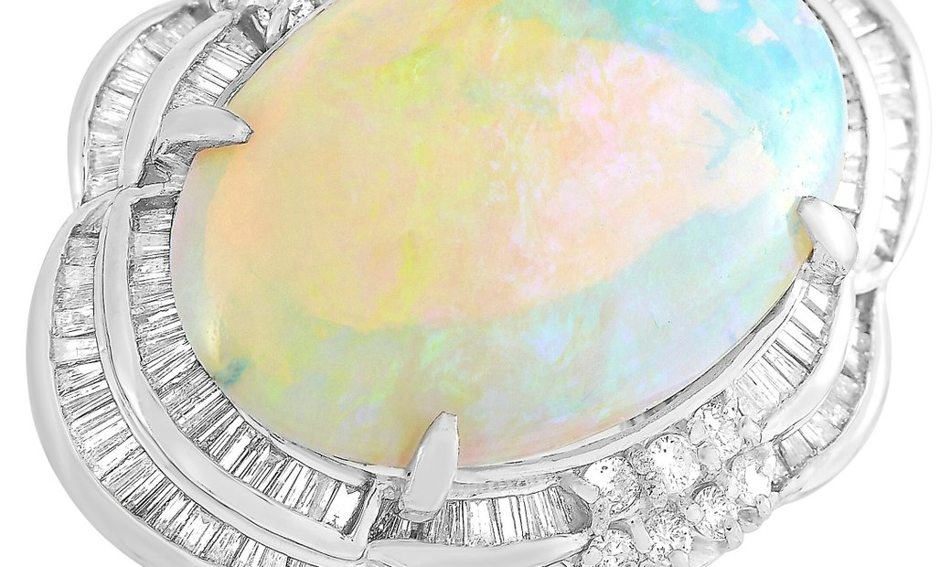LB Exclusive LB Exclusive Platinum 1.09 ct Diamond and Opal Ring