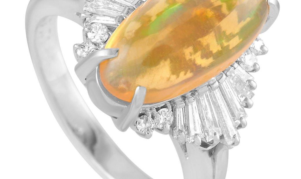 LB Exclusive LB Exclusive Platinum 0.71 ct Diamond and Opal Ring