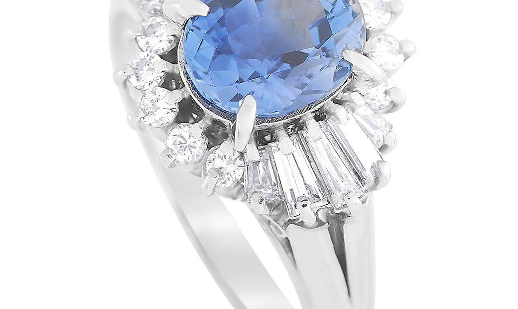 LB Exclusive LB Exclusive Platinum 0.53 ct Diamond and Sapphire Ring