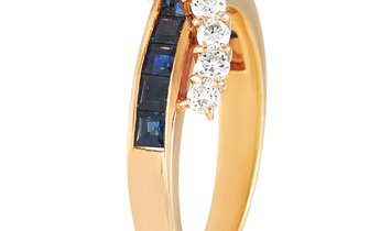 LB Exclusive LB Exclusive 18K Yellow Gold 0.68 ct Diamond and Sapphire Ring