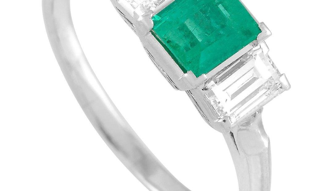 LB Exclusive LB Exclusive Platinum 0.57 ct Diamond and Emerald Ring
