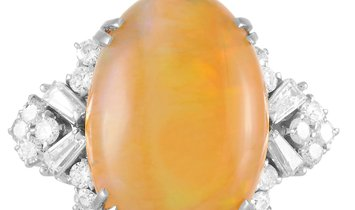 LB Exclusive LB Exclusive Platinum 0.56 ct Diamond and Opal Ring
