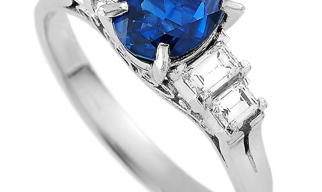 LB Exclusive LB Exclusive Platinum 0.41 ct Diamond and Sapphire Ring