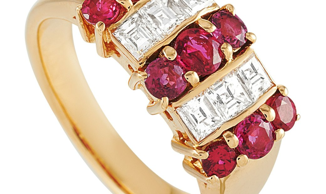 LB Exclusive LB Exclusive 18K Yellow Gold 0.61 ct Diamond and Ruby Ring