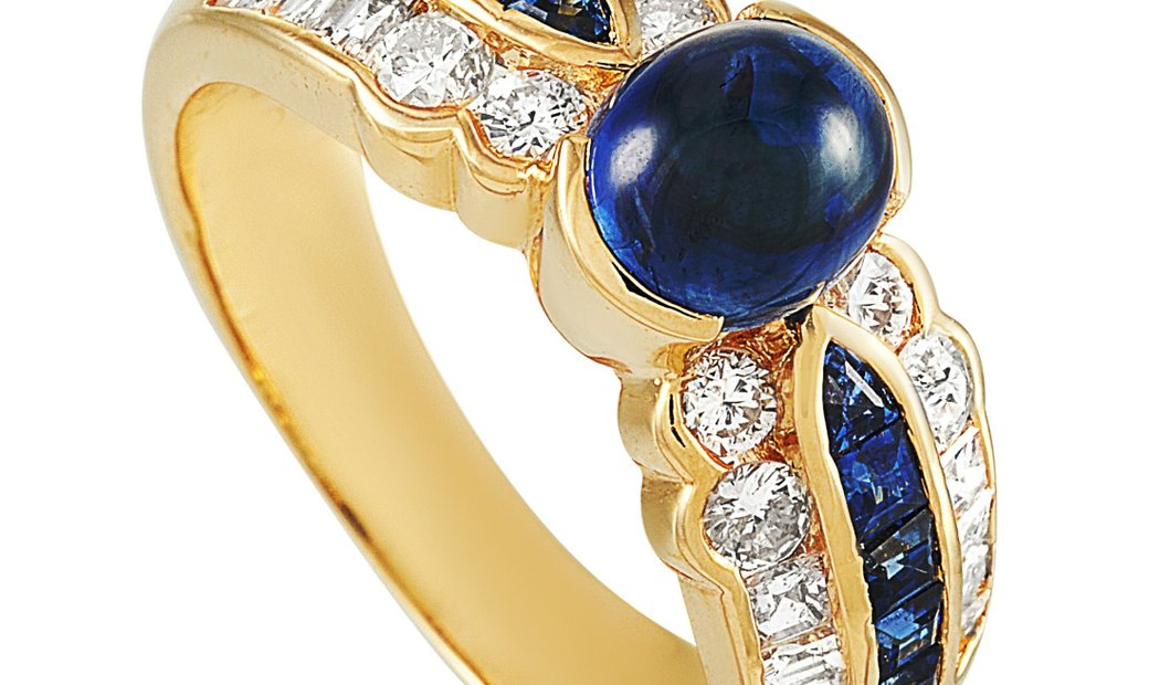 LB Exclusive LB Exclusive 18K Yellow Gold 0.87 ct Diamond and Sapphire Ring