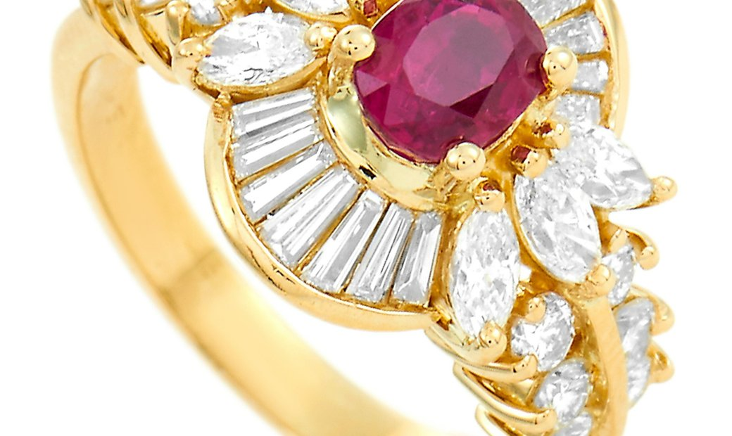LB Exclusive LB Exclusive 18K Yellow Gold 1.55 ct Diamond and Ruby Ring