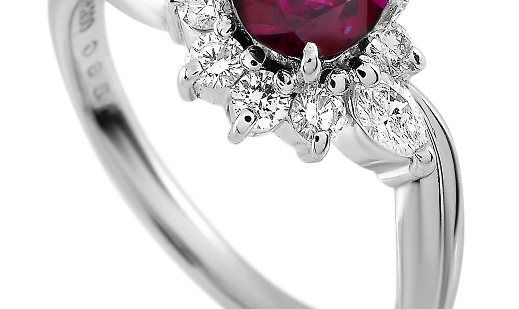 LB Exclusive LB Exclusive Platinum 0.43 ct Diamond and Ruby Ring