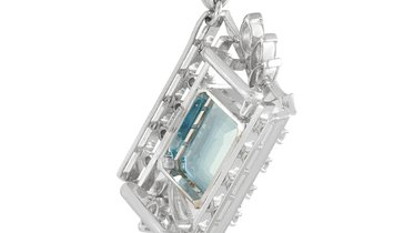 LB Exclusive LB Exclusive Platinum 0.85 ct Diamond and Aquamarine Pendant