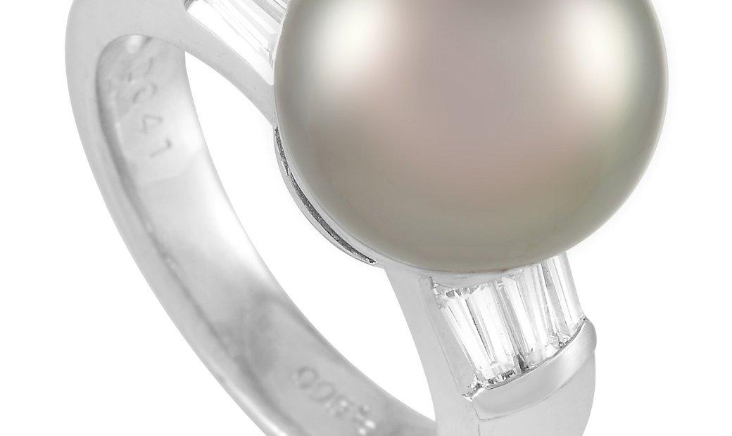 LB Exclusive LB Exclusive Platinum 0.41 ct Diamond and Pearl Ring