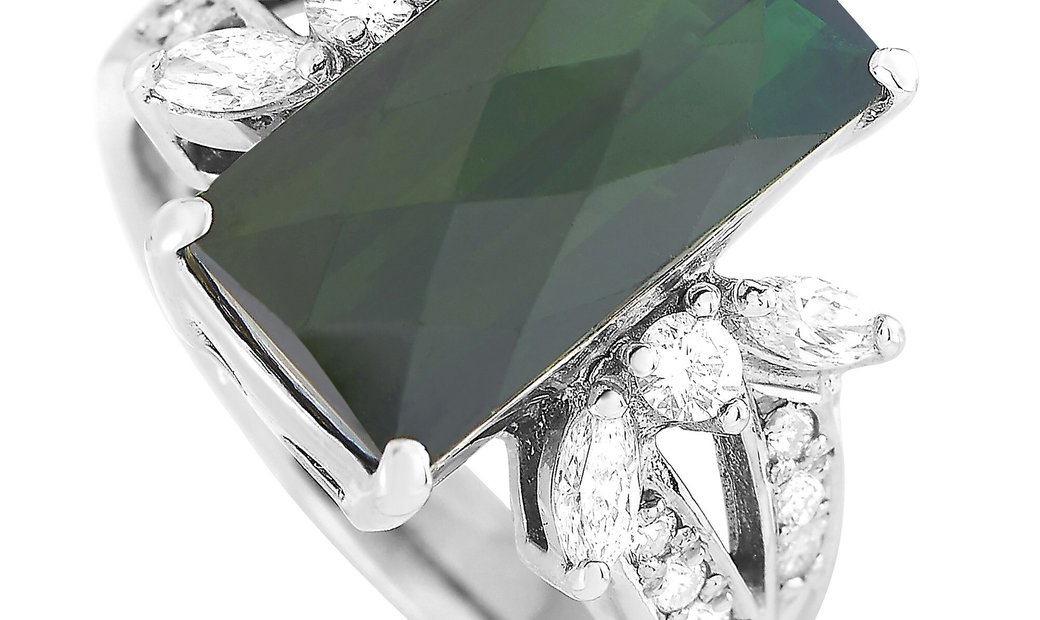 LB Exclusive LB Exclusive 18K White Gold 0.48 ct Diamond and Tourmaline Ring