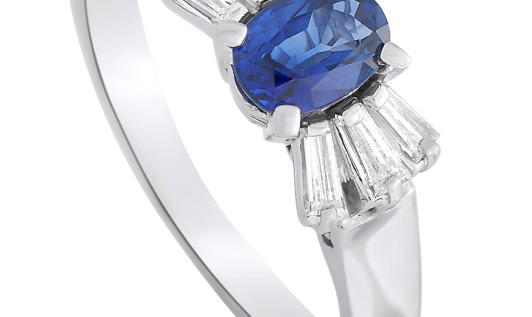 LB Exclusive LB Exclusive Platinum 0.27 ct Diamond and Sapphire Ring