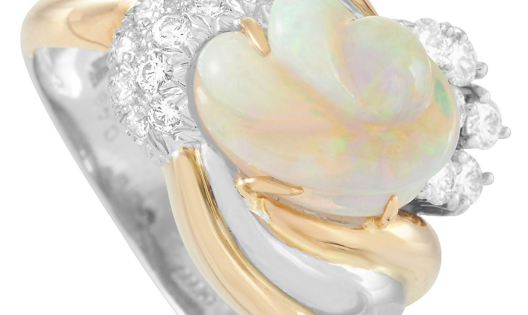 LB Exclusive LB Exclusive Platinum and 18K Yellow Gold 0.48 ct Diamond and Opal Ring