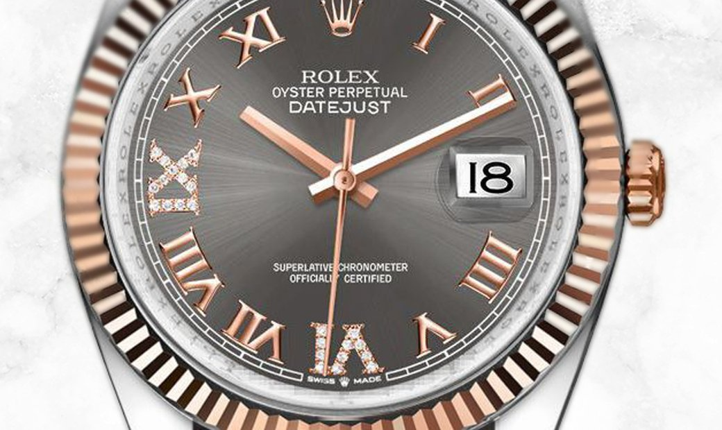 Rolex Datejust 36 126231-0024 Everose Rolesor Diamond Set Dark Rhodium Dial Oyster Bracelet