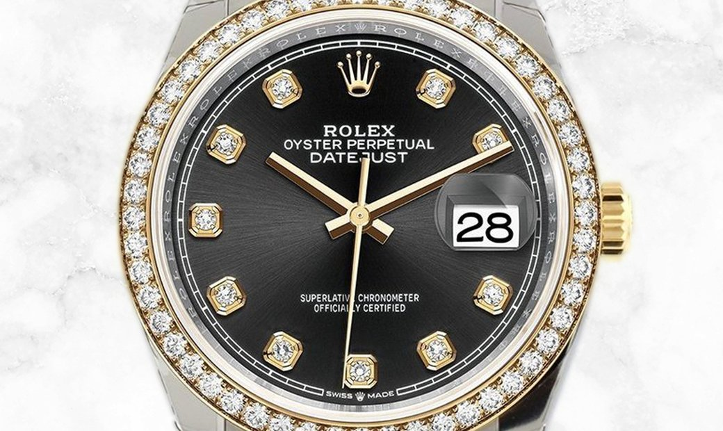 Rolex Datejust 36 126283RBR-0007 Yellow Rolesor Diamond Set Black Dial Diamond Bezel