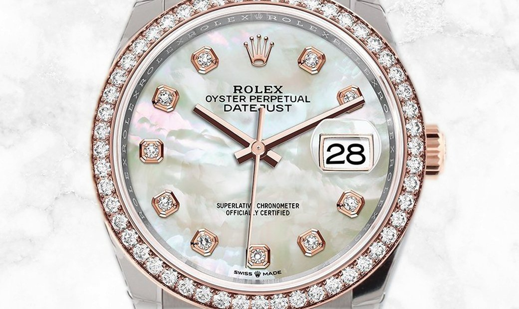 Rolex Datejust 36 126281RBR-0009 Everose Rolesor Diamond Set White Mother-Of-Pearl Dial