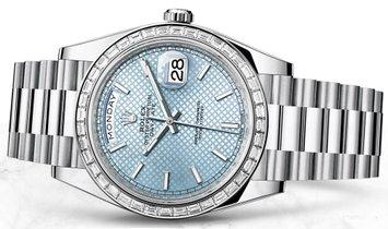 Rolex Day-Date 40 228396TBR-0001 Platinum Ice Blue Diagonal Motif Dial Diamond Bezel