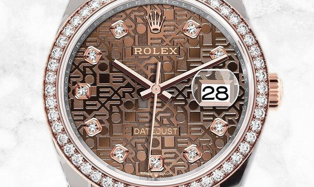 Rolex Datejust 36 126281RBR-0013 Everose Rolesor Diamond Set Chocolate Jubilee Dial Diamond Bezel
