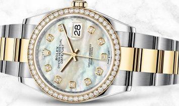 Rolex Datejust 36 126283RBR-0010 Yellow Rolesor Diamond Set White Mother of Pearl Dial Diamond Bezel