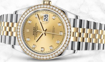 Rolex Datejust 36 126283RBR-0003 Yellow Rolesor Diamond Set Champagne Colour Dial Diamond Bezel