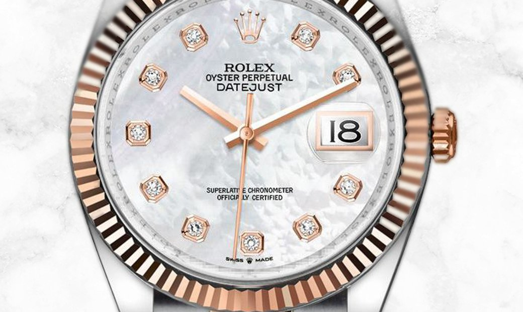 Rolex Datejust 36 126231-0022 Everose Rolesor Diamond Set White Mother of Pearl Dial