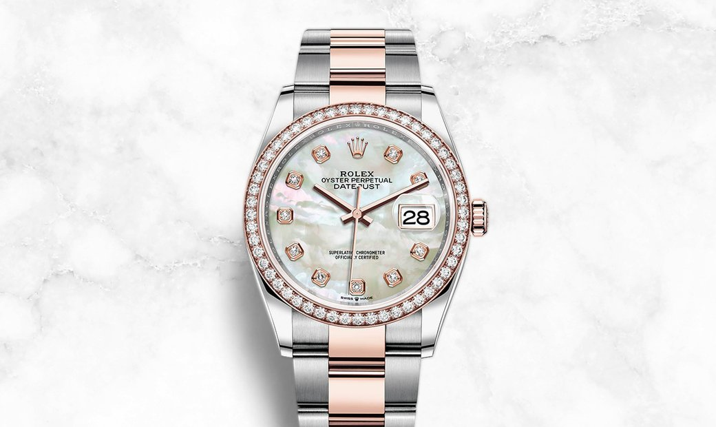 Rolex Datejust 36 126281RBR-0010 Everose Rolesor White Mother of Peal Dial Diamond Set