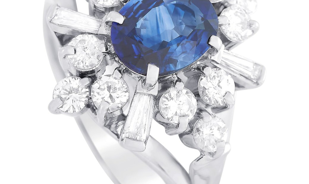 LB Exclusive LB Exclusive Platinum 1.05 ct Diamond and Sapphire Ring