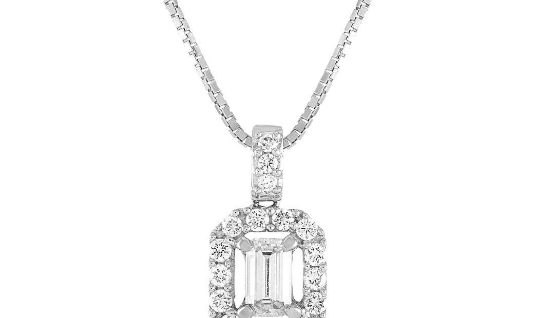 LB Exclusive LB Exclusive 18K White Gold 0.91 ct Diamond Pendant Necklace