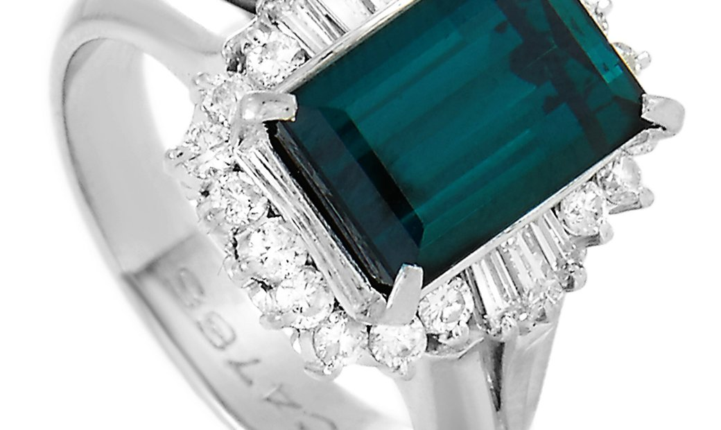 LB Exclusive LB Exclusive Platinum 0.63 ct Diamond and Tourmaline Ring