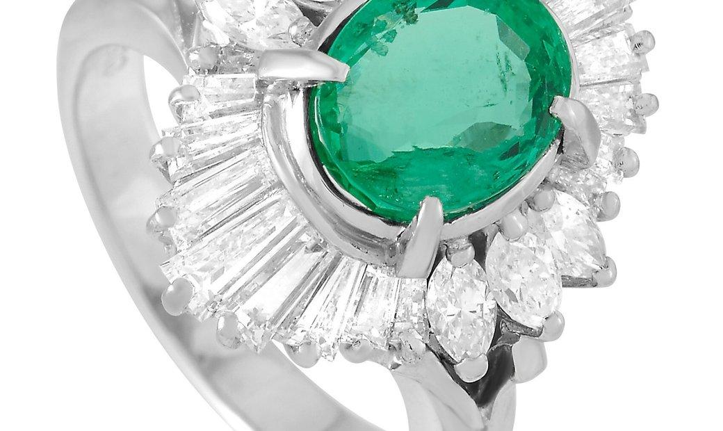 LB Exclusive LB Exclusive Platinum 1.20 ct Diamond and Emerald Ring