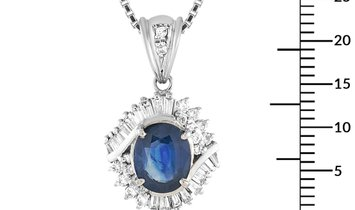 LB Exclusive LB Exclusive Platinum 0.50 ct Diamond and Sapphire Pendant Necklace