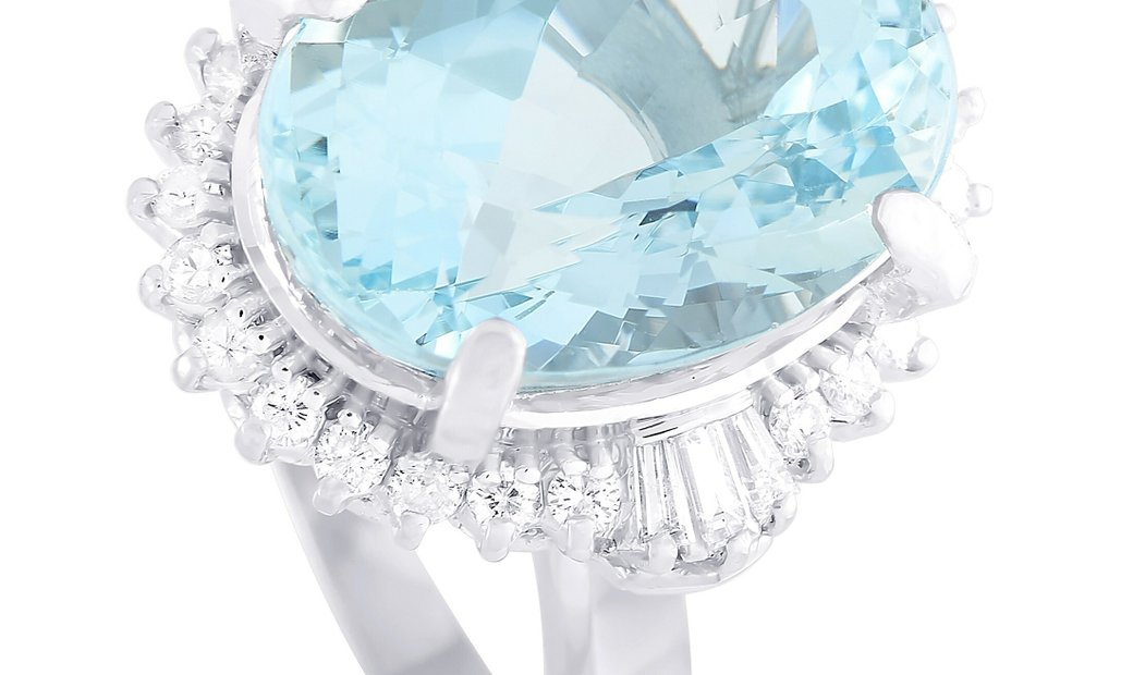 LB Exclusive LB Exclusive Platinum 0.59 ct Diamond and Aquamarine Ring