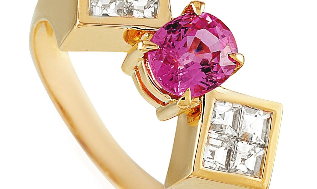 LB Exclusive LB Exclusive 18K Yellow Gold 0.80 ct Diamond and Pink Sapphire Ring