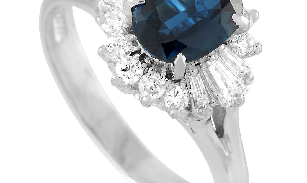 LB Exclusive LB Exclusive Platinum 0.48 ct Diamond and Sapphire Ring